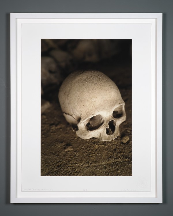Framed photograph printed with archival pigment ink on acid free Italian rag paper of a human skull by artist Clayton Porter.