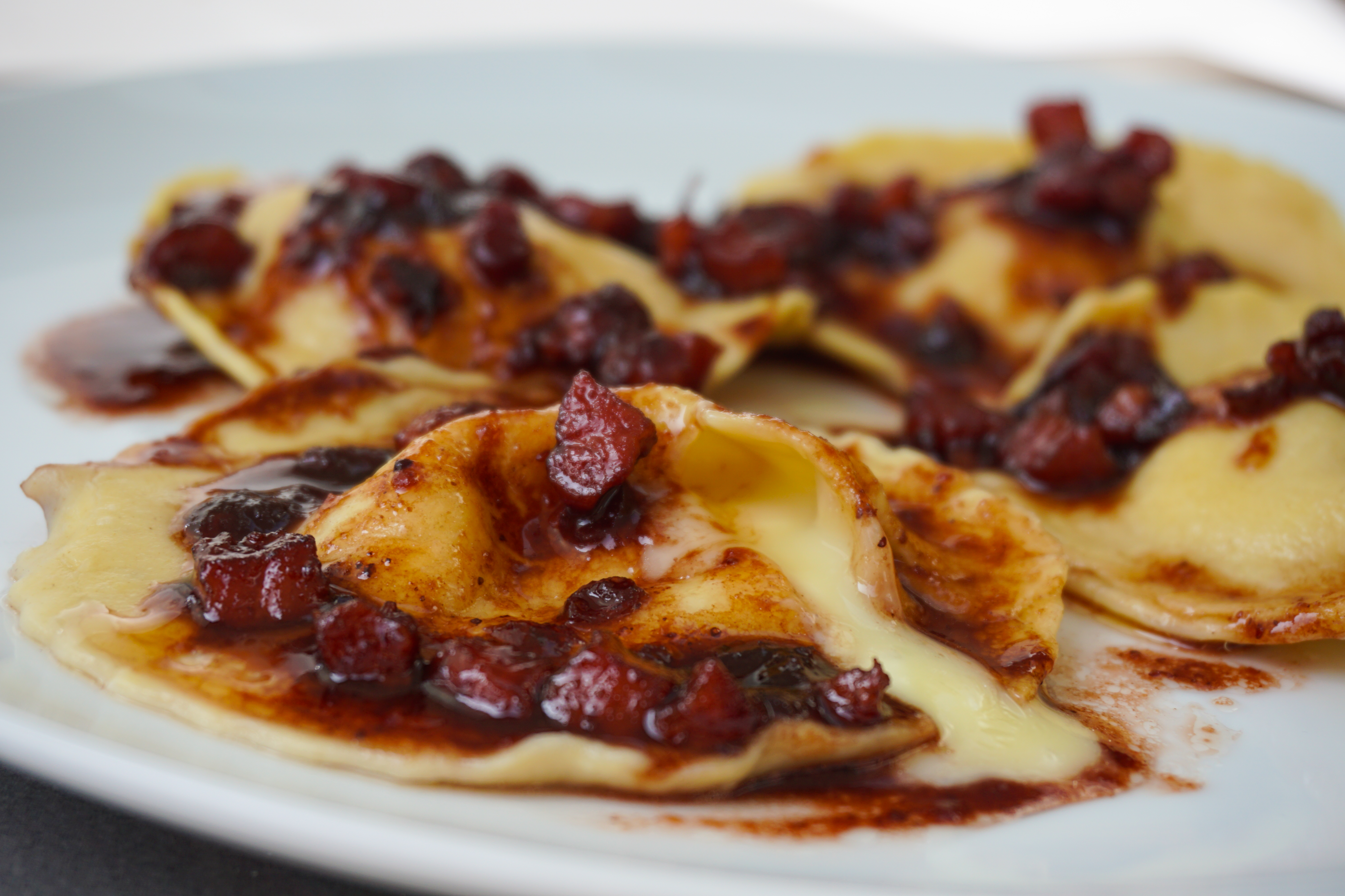 Camembert Ravioli with a Port, Cranberry and Pancetta Sauce