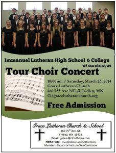 2014 Grace Lutheran Church Tour Choir flyer