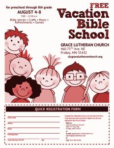 2014 Vacation Bible School flyer