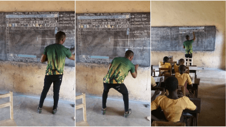 Ghana teacher chalk computer