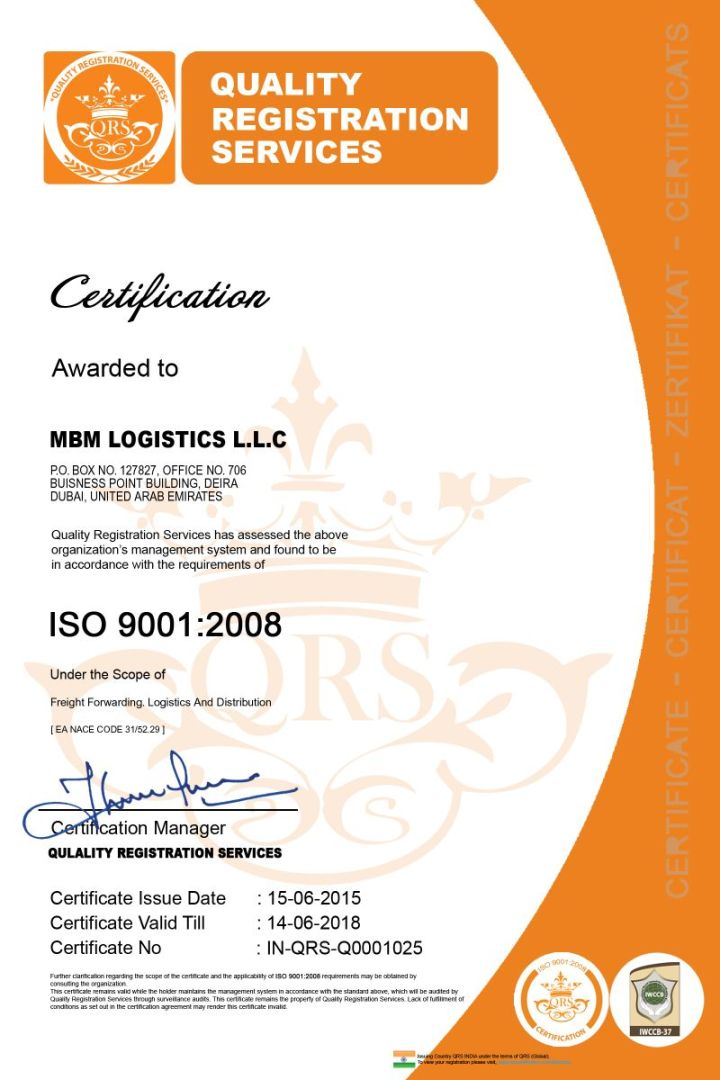 MBM Logistics LLC (Member in U.A.E.) is now certified ISO ...