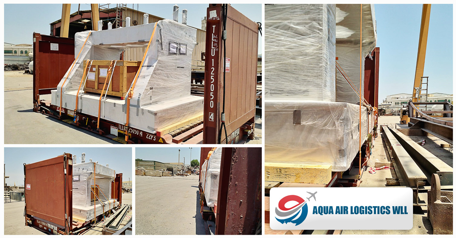 Aqua Air Logistics Loaded Flat Racks from Bahrain to Peru via CMA CGM