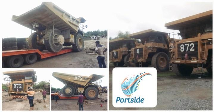 Portside Ghana Loading Five Caterpillar 777 Dump Trucks from Ghana