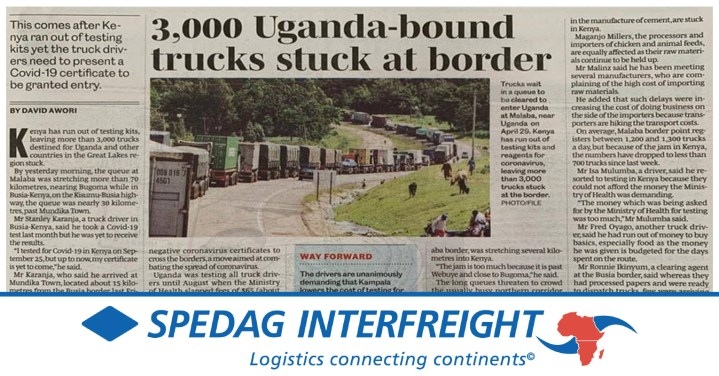 News on the Situation at the Border Between Kenya and Uganda from Spedag Interfreight