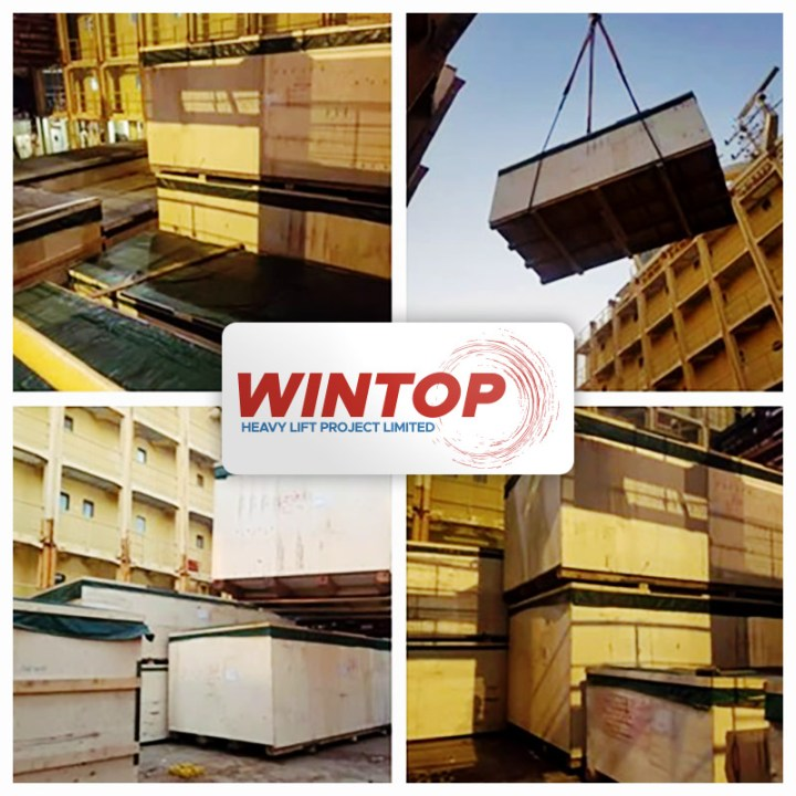 Wintop Heavy Lift Shipped Plastic Injection Molding Machinery from Taicang to Houston