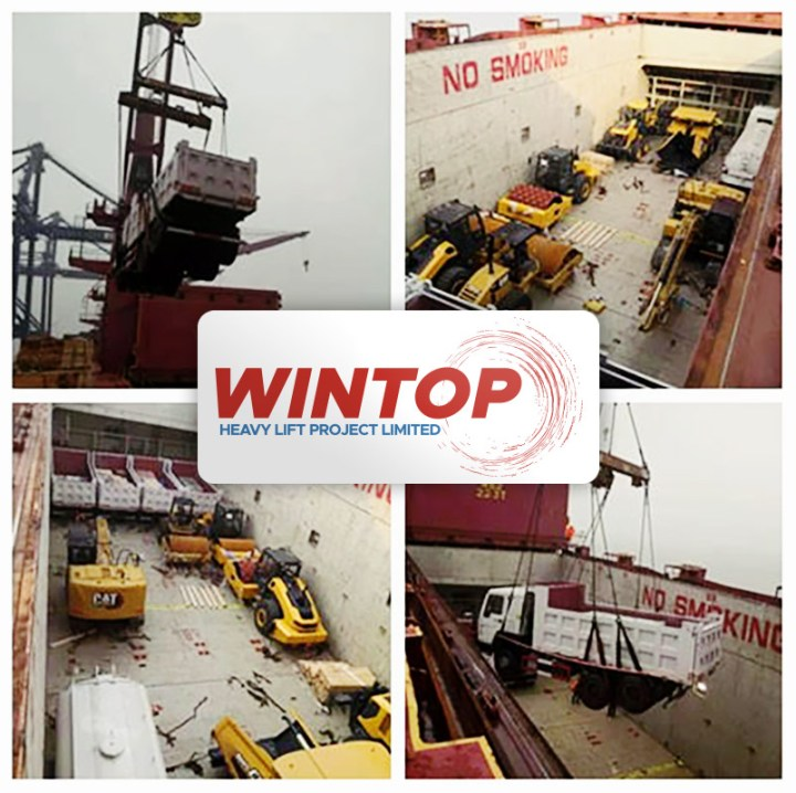 Wintop Heavy Lift Shipped Road Rollers, Sprinkling Cars, Land Levelers and Dump Trucks ex-Changshu to LAE