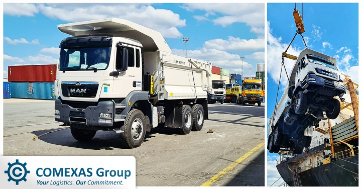 Comexas Shipped Some Brand New Tipper Trucks from Port of Antwerp to Africa
