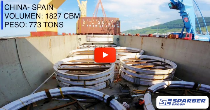 Video - Sparber Shipped 33pcs - 1827cbm - 773mt of Wind Power Equipment from China to Spain