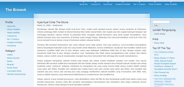 Tampilan WordPress.com 2008.