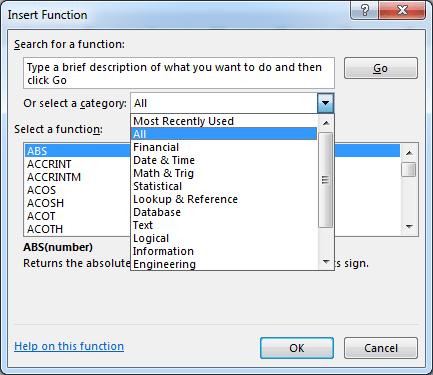 kategori fungsi excel