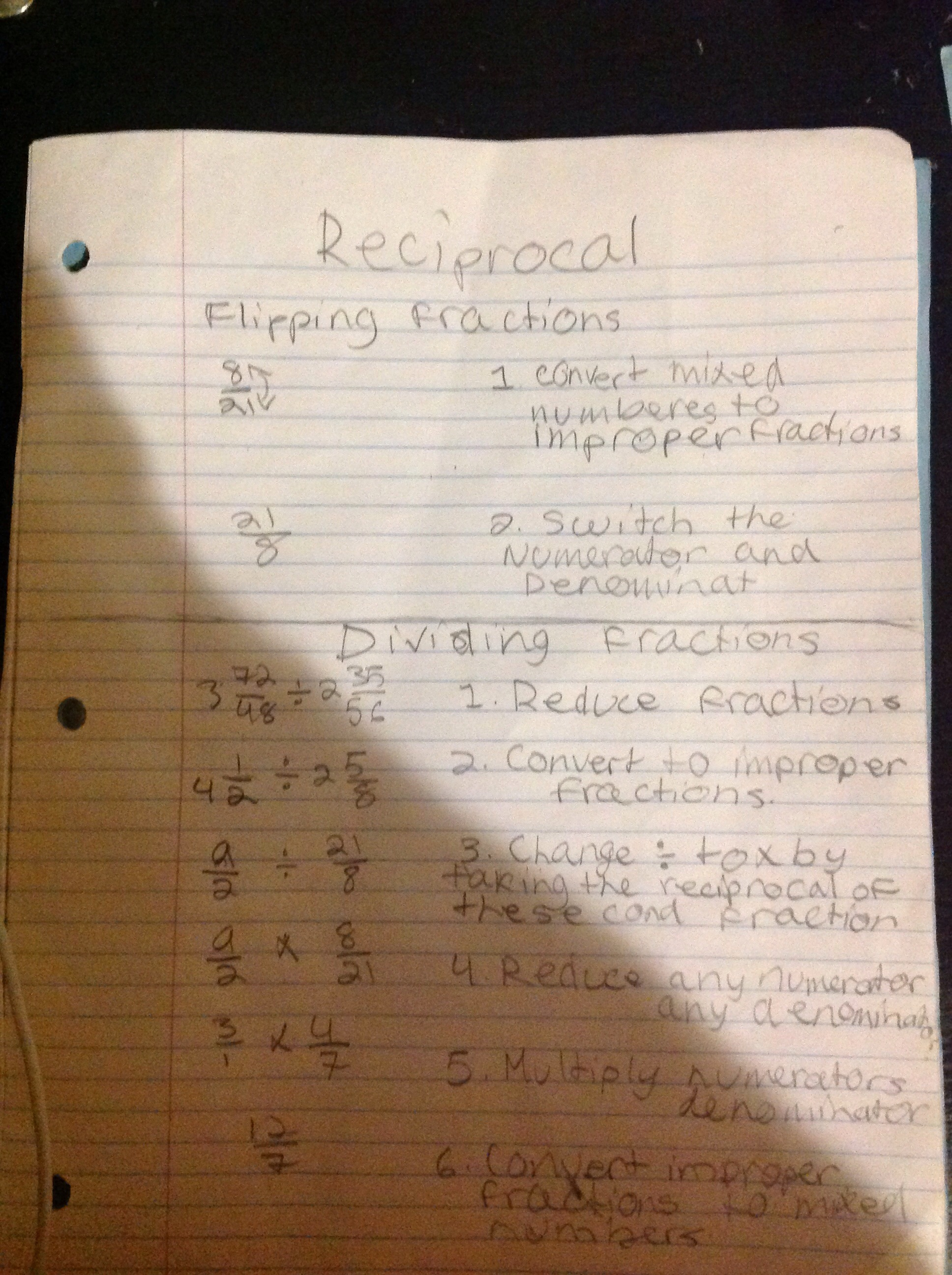 Reciprocal And Dividing Fractions Notes Math R Us