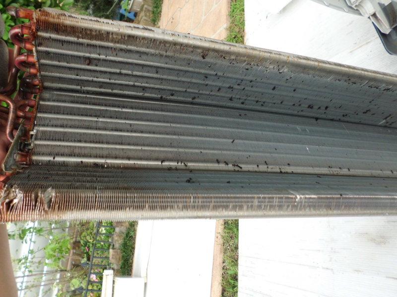 洗浄後の熱交換器の裏側