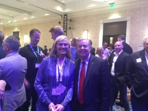 Elizabeth Halliday of the Clean Capitalist Coalition with Sen. Lindsay Graham at a banquet during EarthX 2019 in Dallas