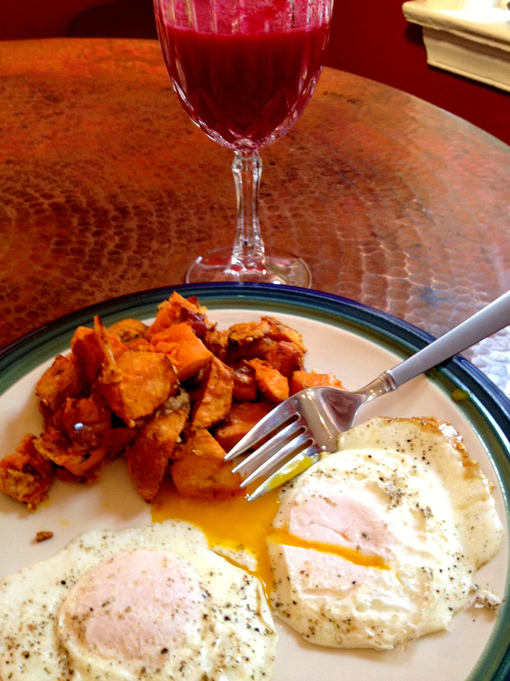 Eggs, Sweet Potatoes, and Beet Mimosa