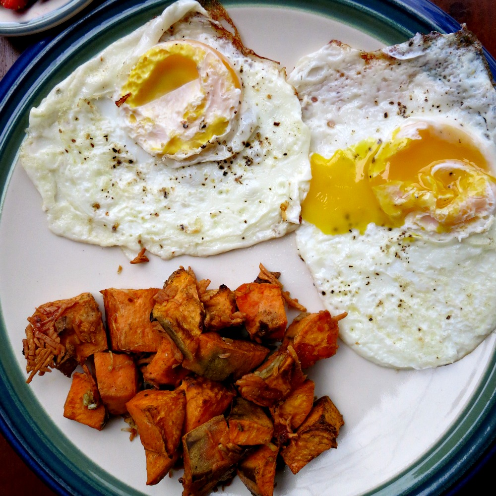 Fried Eggs and Parmesan Sweet Potatoes