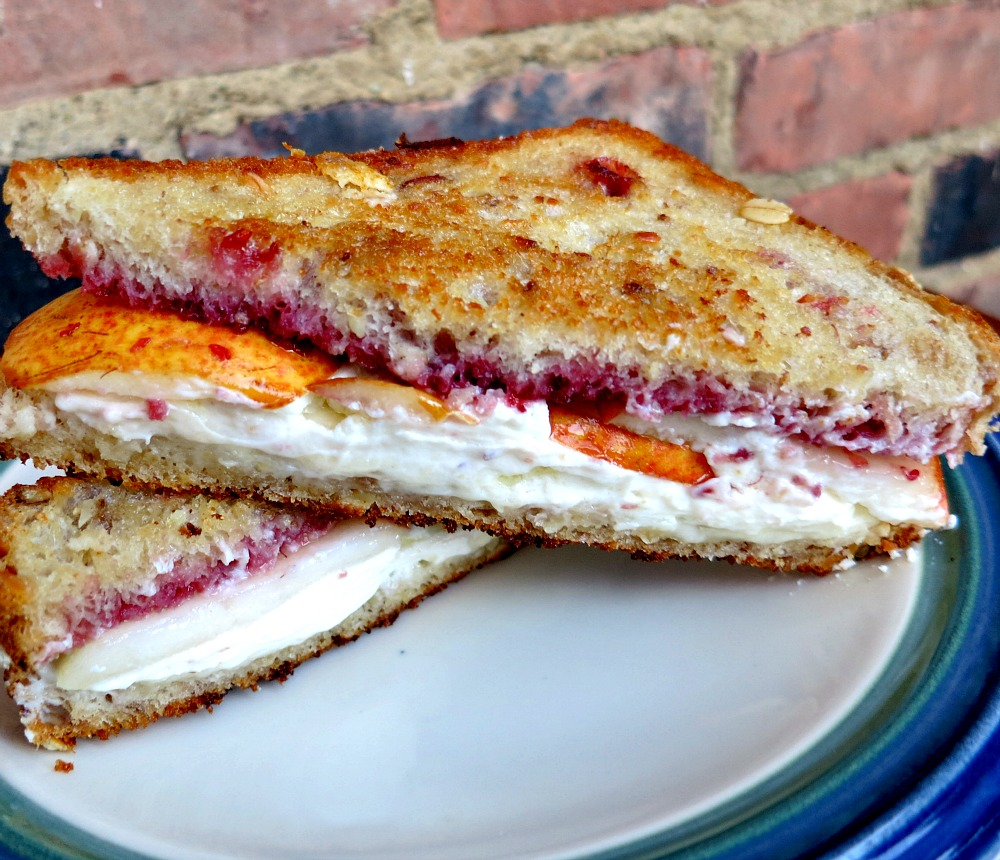 Grilled Cheese with Goat Cheese, Pears and Raspberry Sauce on Granola Bread