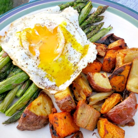 Asparagus, Roasted Veggies and Fried Egg B