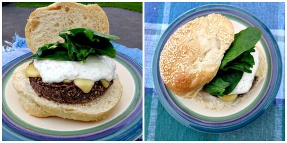 Veggie Burger with Veggie Dip Collage