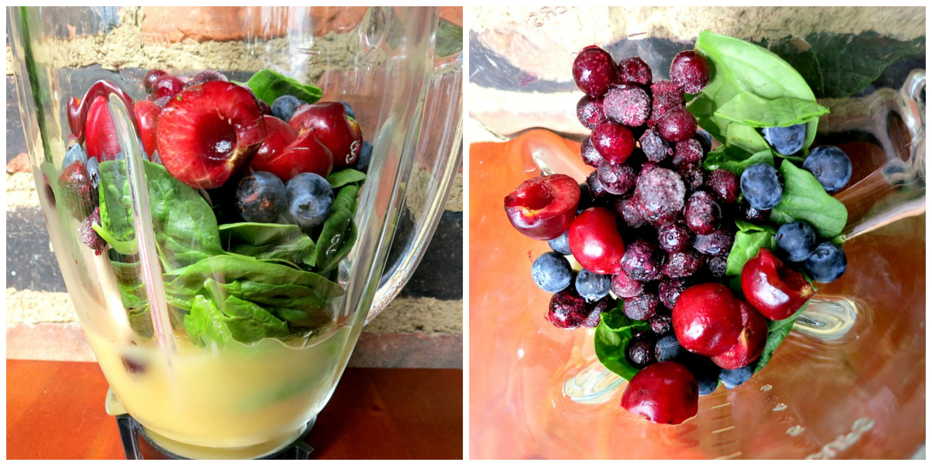 Mixed Berry and Spinach Smoothie Collage
