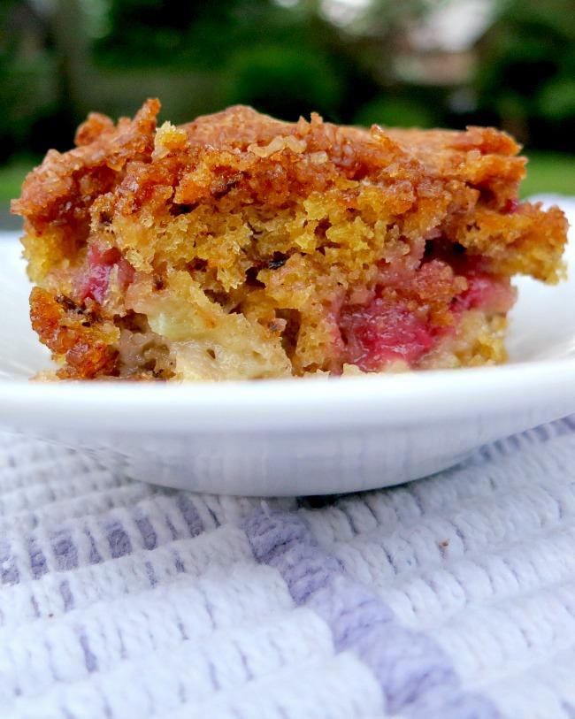 Raspberry Rhubarb Coffee Cake