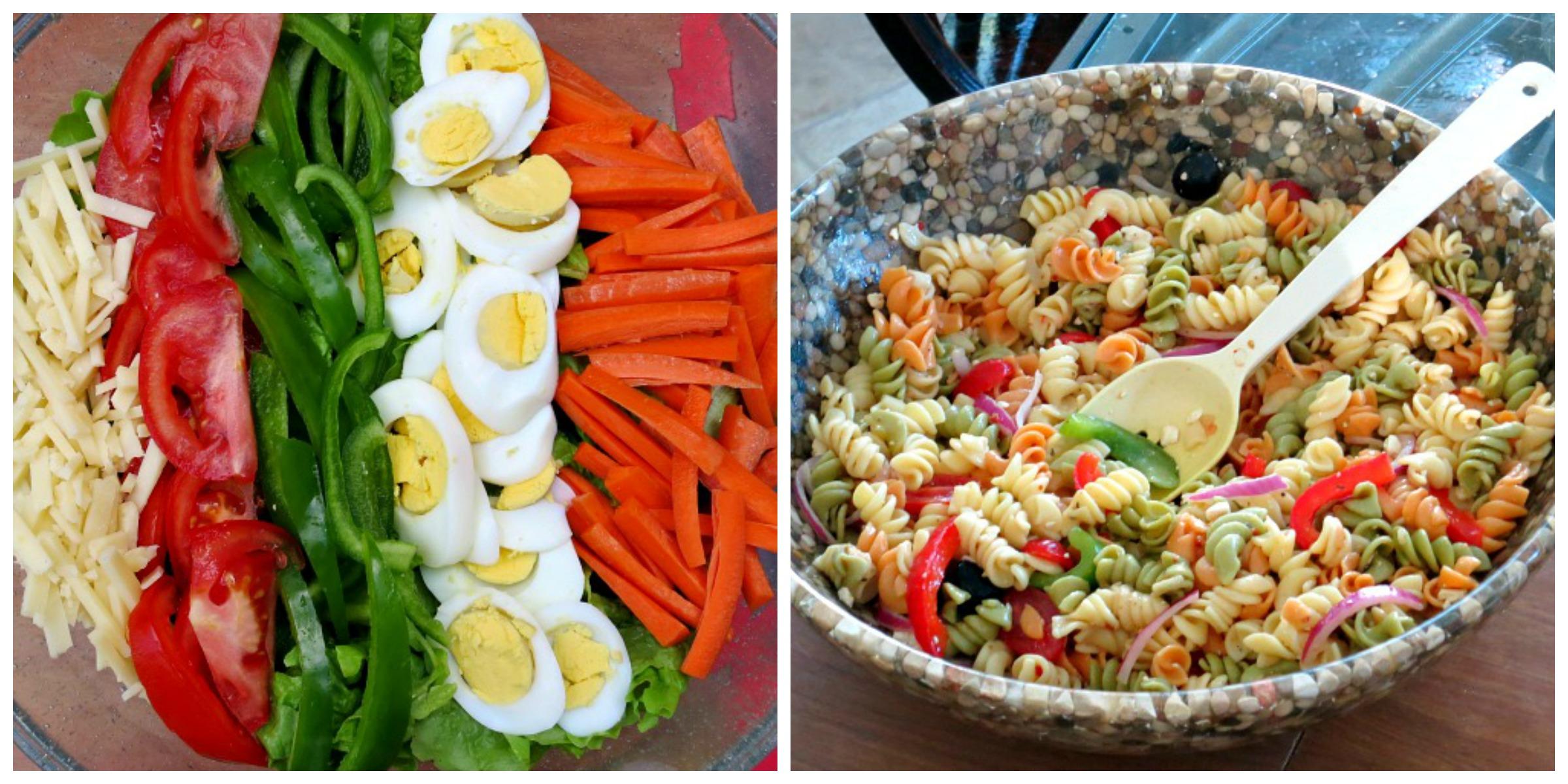 Beach Dinner Salads Collage