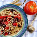 Spaghetti with Garlic, Tomatoes, Kalamata Olives, & Feta