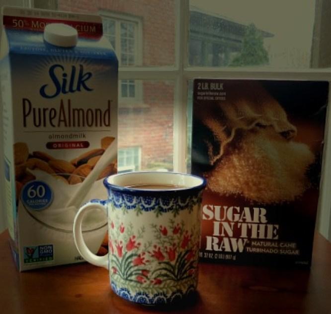 Coffee, Almond Milk and Raw Sugar