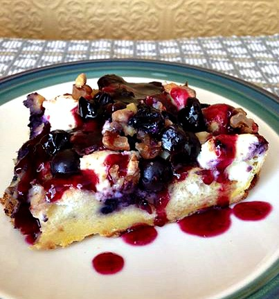 Blueberry French Toast Bake with Goat Cheese, Walnuts and Blueberry Sauce