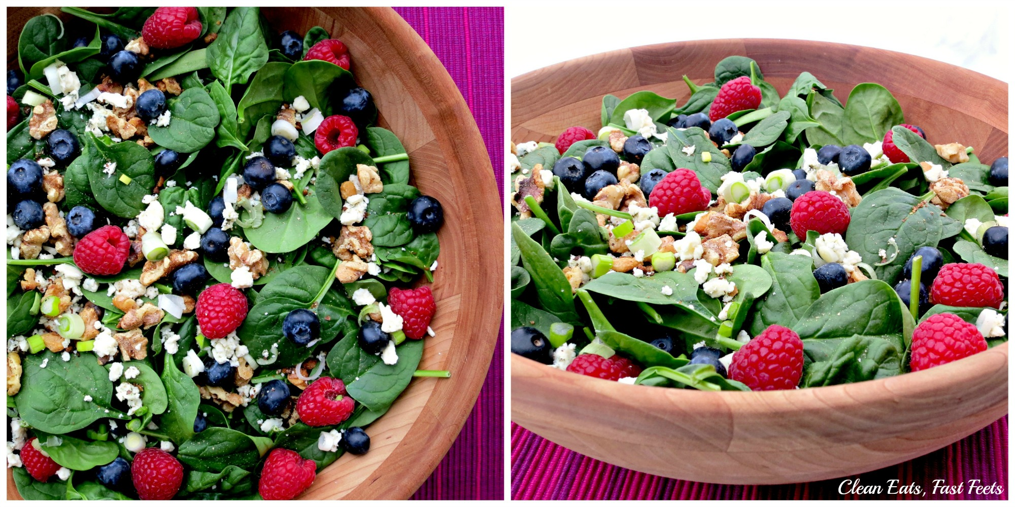 Salad with Berries, Blue Cheese, Green Onions & Toastes Walnuts Collage B