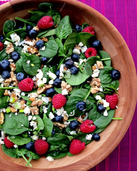 Spinach Salad with Berries, Blue Cheese, Green Onions and Toasted Walnuts