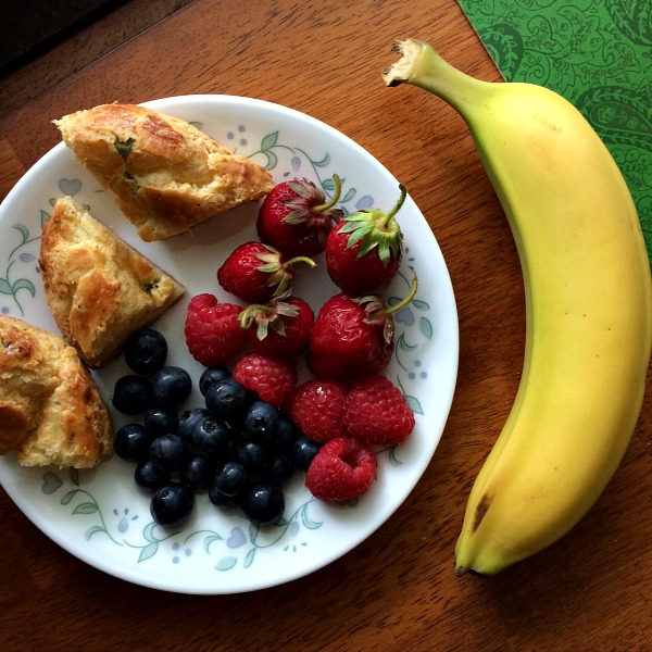 Breakfast Plate One - Popovers, Berriers and Banana