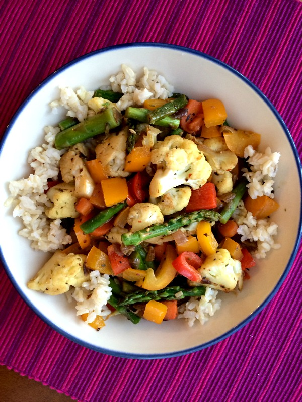 Sauteed Veggies with Brown Rice