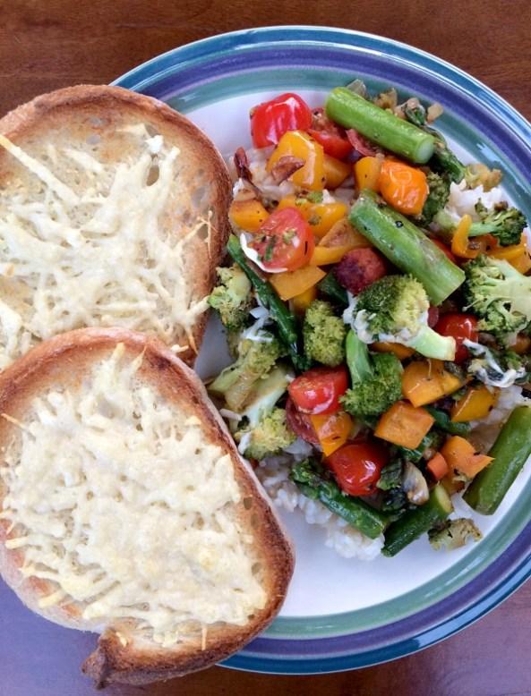 Veggie Stir Fry Rice and Garlic Bread