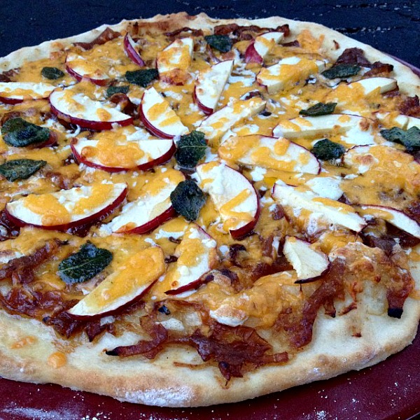 Apple Pizza with Caramelized Onions, Crispy Sage in Brown Butter and Cheddar