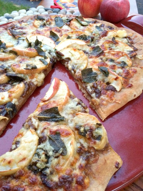 Apple Pizza with Crispy Sage in a Borwn Butter Sauce and Caramelized Onions