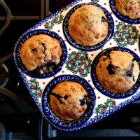 Blueberry Banana Buttermilk Soaked Oat Muffins