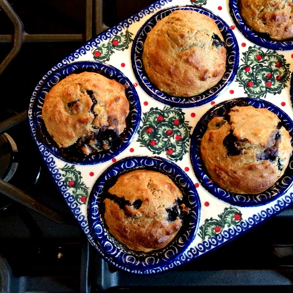 Banana Blueberry Buttermillk Soaked Oat Muffins