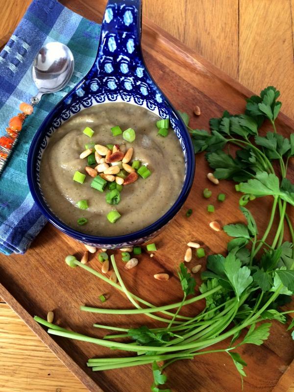Creamy Potato Broccoli Pesto Soup