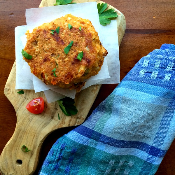 Acorn Squash Fritters with Sun-dried Tomatoes, Spinach and Mozzarella