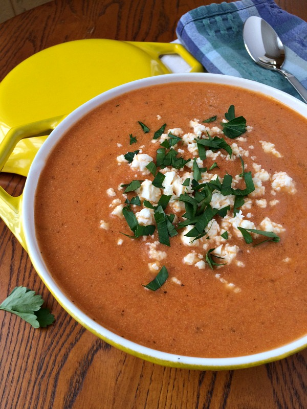 Packed with carrots, cauliflower and Greek yogurt, this Creamy Tomato Basil Soup packs a nutritional punch.