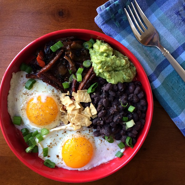 Fried Eggs, Black Beans, Cumin Roasted Carrots, and Guacamole