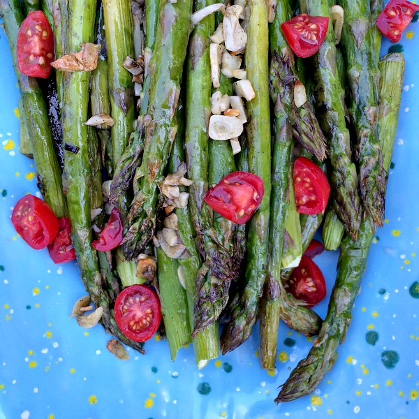Garlic Roasted Asparagus with Cherry Tomatoes