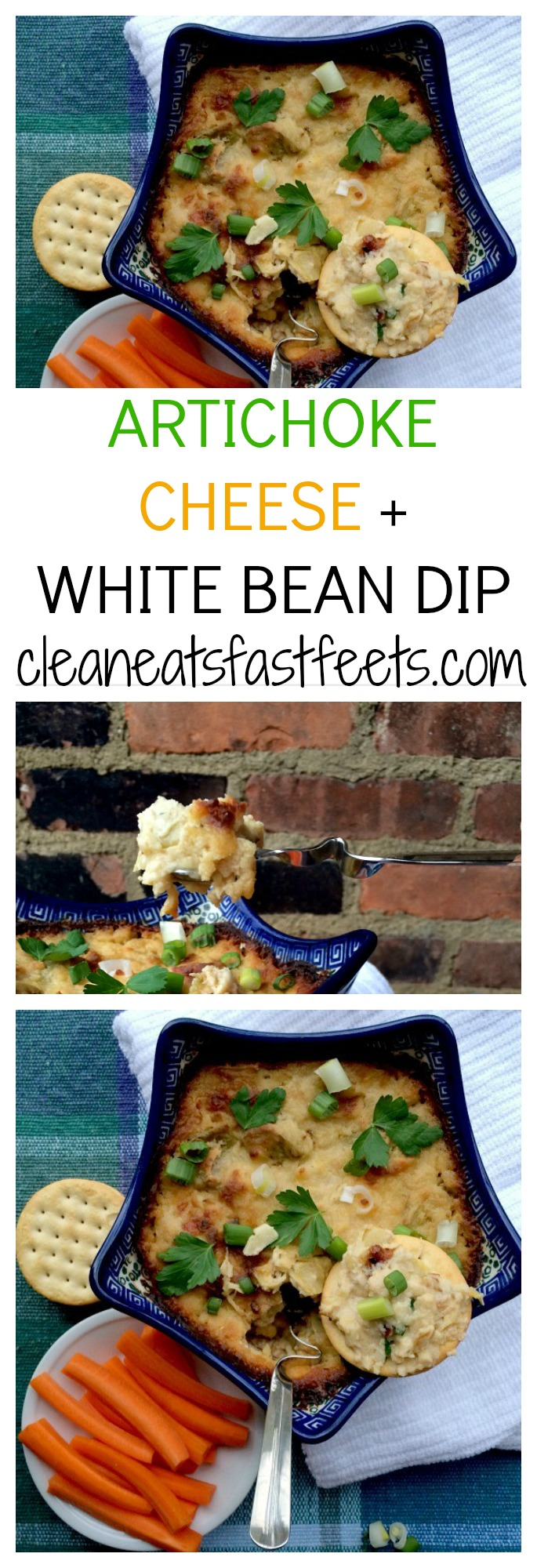 Artichoke Cheese White Bean Dip. A lightened up version of the standard Artichoke Cheese Dip, packed with protein, fiber and flavor.