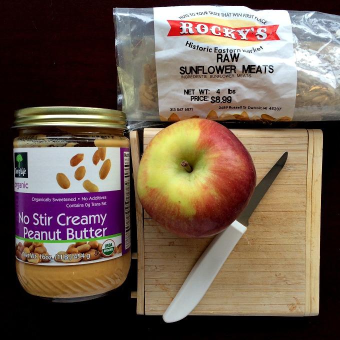 Apple Peanut Butter and Sunflower Seeds