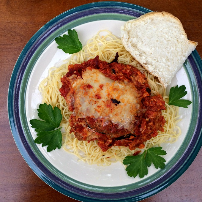 Hers Eggplant Parmesan, Angelhair Pasta and Bread