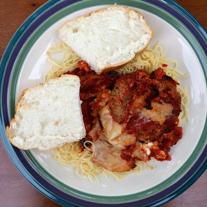 His Eggplant Parmesan, Angelhair Pasta and Bread