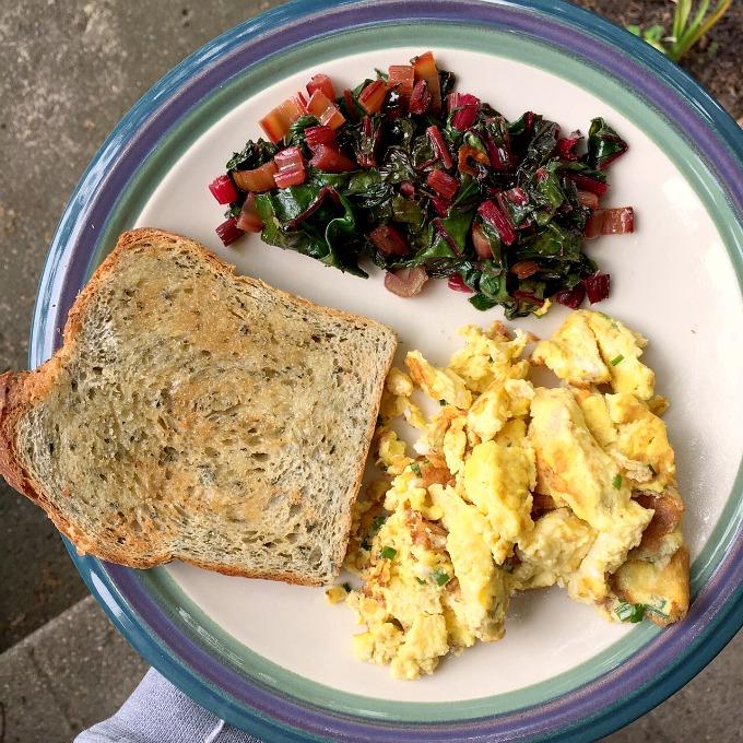 Scrambled Eggs, Swiss Chard and Tuscan Herb Toast