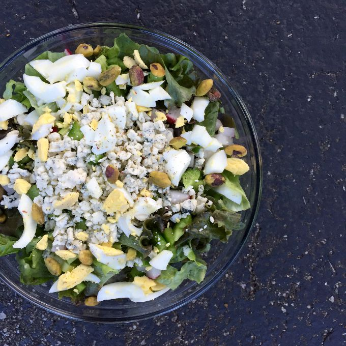 Summer Salad with Blue Cheese, Hard Boiled Egg and Pistachios
