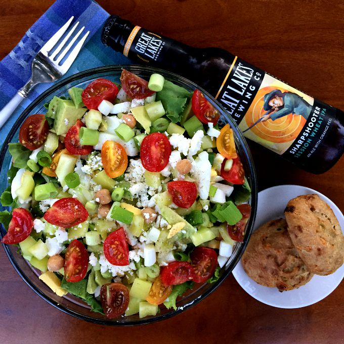 Summer Salad with Tomatoes, Avocado, Green Onion, Chickpeas, Egg, and Feta with Beer and Biscuits